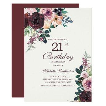 Burgundy Blush Pink Floral Leaves 21st Birthday Invitation