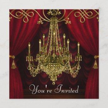 Burgundy Curtains Red Gold Chandelier Party Invitation