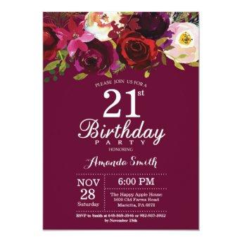 Burgundy Floral 21st Birthday Party Invitation