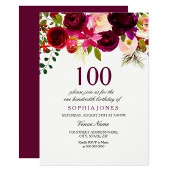 Burgundy Floral Boho 100th Birthday Party Invite