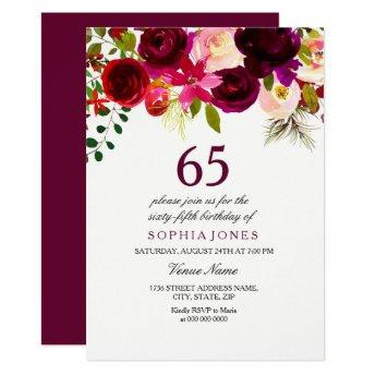 Burgundy Floral Boho 65th Birthday Party Invite