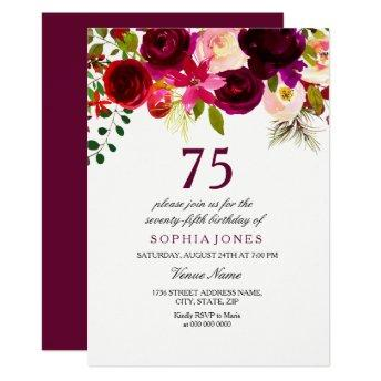 Burgundy Floral Boho 75th Birthday Party Invite