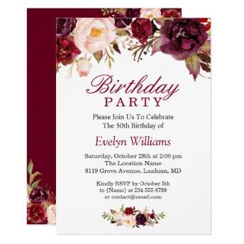 Burgundy Marsala Red Floral Birthday Party Invitation