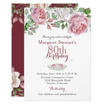Burgundy Pink Country Rose 80th Birthday Invite