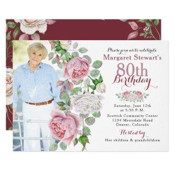 Burgundy Pink Country Rose Photo 80th Birthday