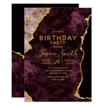 Burgundy Pink Gold Foil Birthday Party Invitation