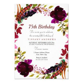 Burgundy Purple Floral 75th Birthday Party Invite