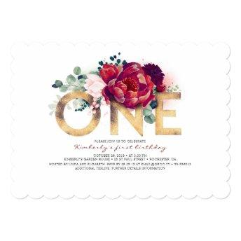 Burgundy Red and Gold Floral 1st Birthday Invitation