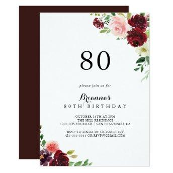 Burgundy Spring Floral 80th Birthday Party Invitation