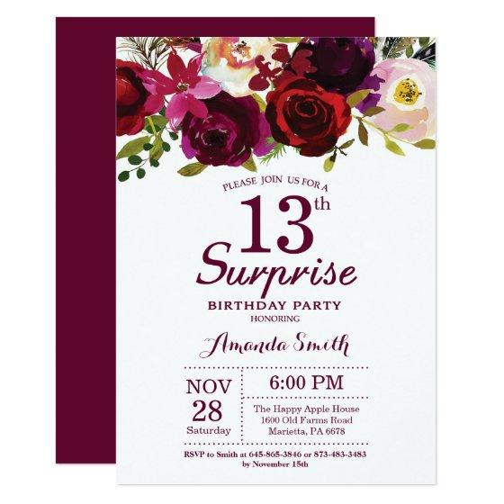 190 Burgundy Surprise Floral 13th Birthday Party Invitation