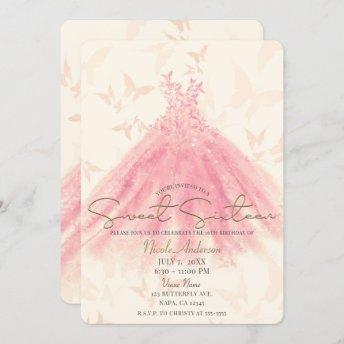 Butterfly Dance Peach Sparkle Dress Sweet 16 Party Invitation