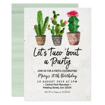 Cactus Birthday Fiesta Party Invitation