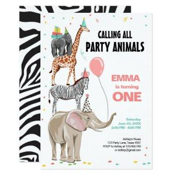 Calling All Party Animals Zoo Wild Girl Birthday Invitation