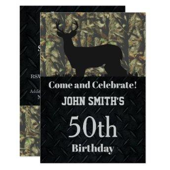 Camo Hunting Birthday Party Men's Invitation