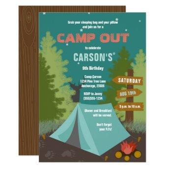 Camping Birthday Camp Out Invitation