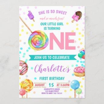 Candy Sweet Celebration ONE Girl First Birthday Invitation