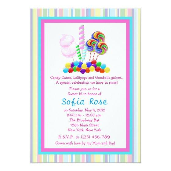 Candyland Candy Theme Sweet 16 Birthday Invite Birthday Party