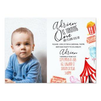 Carnival photo invite cute circus birthday party