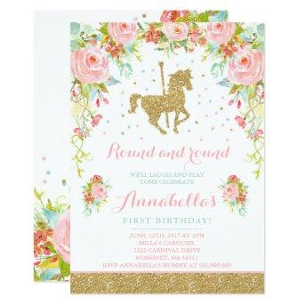Carousel Birthday  Floral Pink Mint Gold