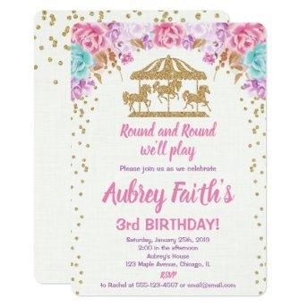 Carousel pink and gold birthday invitation girl