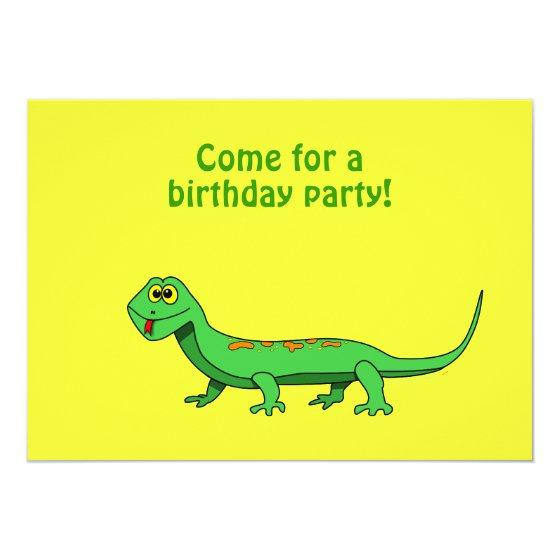 Cartoon Lizard Kids Reptile Birthday Birthday Party Invitations