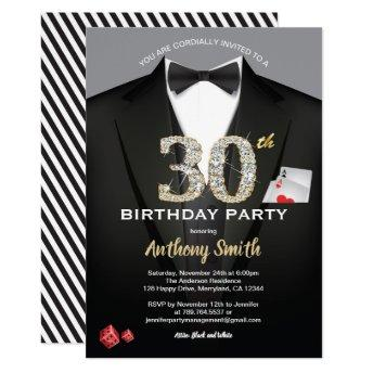 Casino 30th birthday invitation. Black and white Invitation