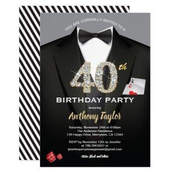 Casino 40th birthday invitation. Black and gold Invitation