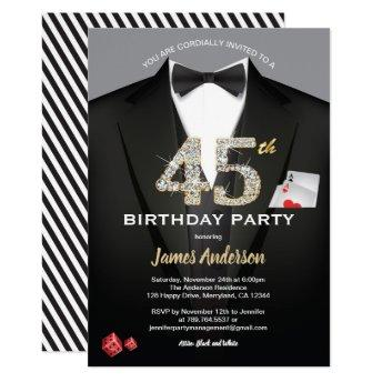 Casino 45th birthday invitation. Black and gold Invitation