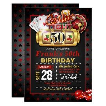 Casino 50th Birthday Invitation