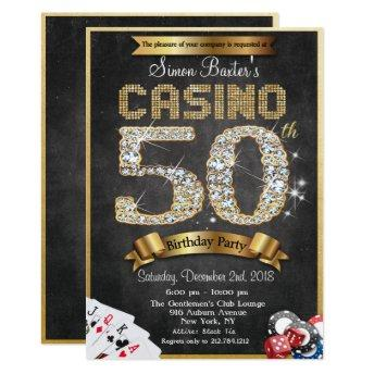 Casino 50th Gold Diamond Birthday Invitation