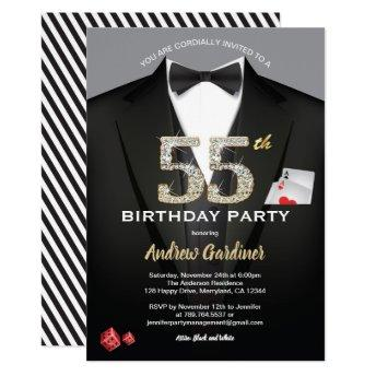 Casino 55th birthday invitation. Black and gold Invitation