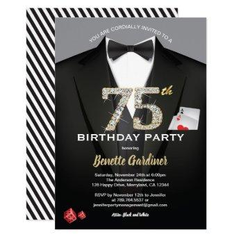 Casino 75th birthday invitation. Black and gold Invitation