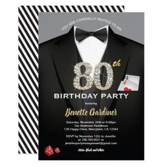 Casino 80th birthday invitation. Black and gold Invitation