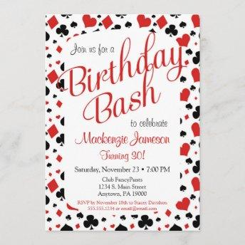 Casino Birthday Invitation Poker Vegas Game Party