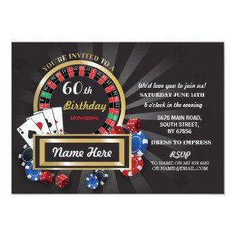 Casino Night Birthday Las Vegas Invite Party