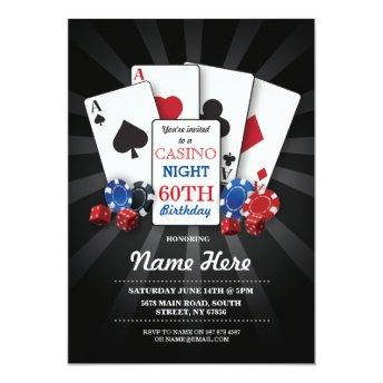 Casino Night Las Vegas Birthday Invitation Party