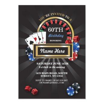 Casino Night Las Vegas Birthday Invite Party