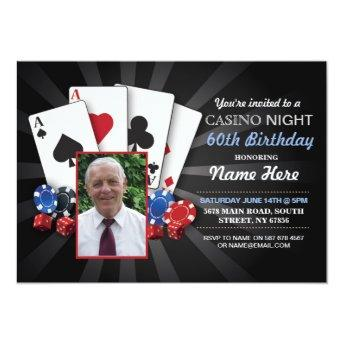 Casino Night Las Vegas Photo Birthday Invitation