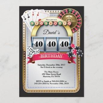 Casino Poker Playing Invitation Birthday Invitation