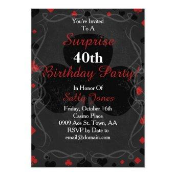 Casino style surprise birthday invitation