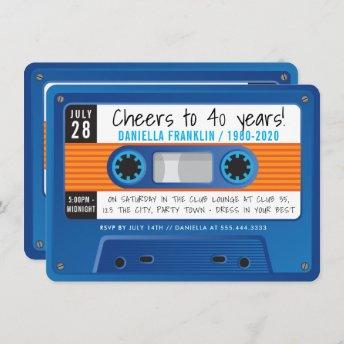 CASSETTE TAPE modern disco birthday blue orange Invitation