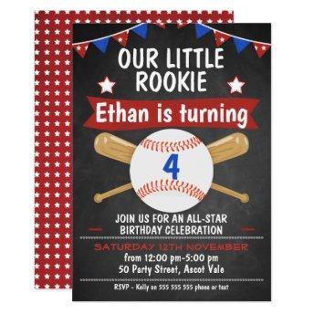Chalkboard Baseball Birthday Invitation