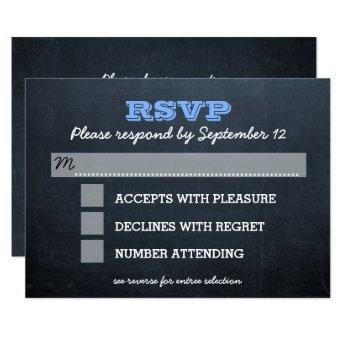 Chalkboard Blue Bar Mitzvah RSVP Card with Entree