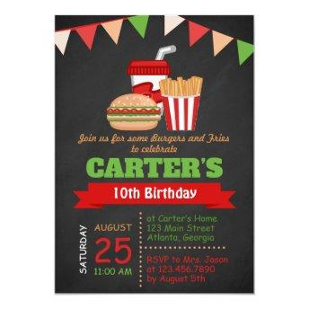 Chalkboard Burgers and Fries Birthday Party Invite
