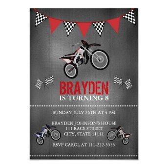 Chalkboard Dirt Bike Birthday Invitation
