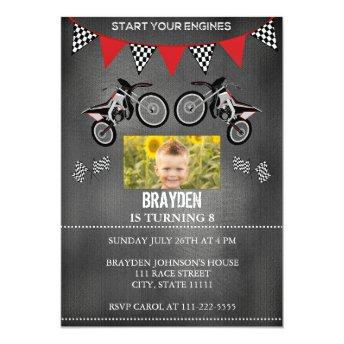 Chalkboard Dirt Bike Photo Birthday Invitation
