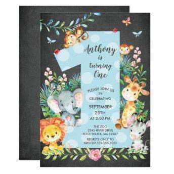 Chalkboard Jungle Big One Boys Birthday Invitation