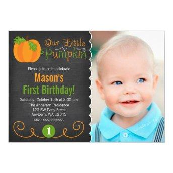 Chalkboard Little Pumpkin Green Orange Birthday