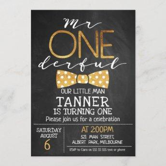 Chalkboard Mr One-derful Birthday Invitation