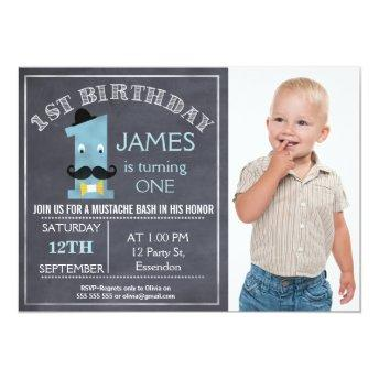 Chalkboard mustache 1st Birthday Party Invitation